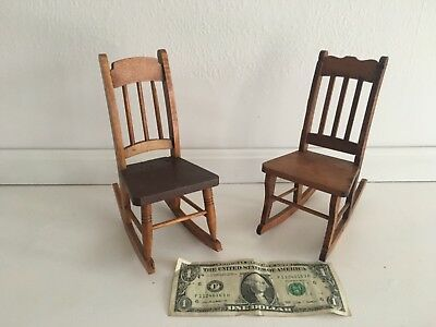 Antique. Hand Made Oak Miniature Rocking Chairs 1 Mortise & Tenon, Excellent Con