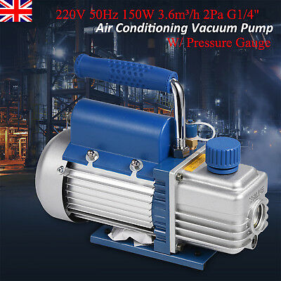 Single Stage Rotary Vane Vacuum Pump HVAC Air Conditioning Refrigerator Gauge UK