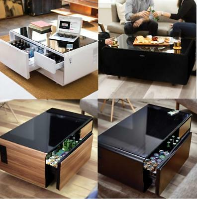 HOME COFFEE TABLE with Refrigerator Drawer Bluetooth Speakers, Lights, USB  Ports