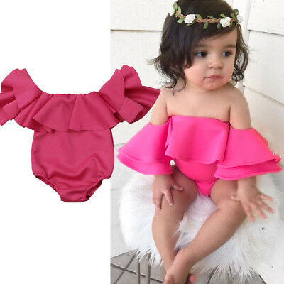 US Cute Newborn Baby Girl Ruffle Off Shoulder Solid Romper Summer Outfit Clothes
