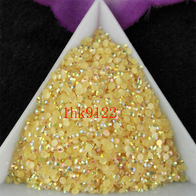 2-6mm Champagne Jelly AB Crystl Resin Flatback Nail Art Rhinestones Beads