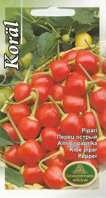 Vegetable Seeds Hot Chili Cherry Pepper Koral Pot Garden Pictorial Packet UK