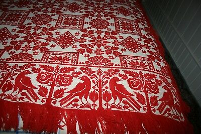 Early Antique Americana Red Coverlet Snowflakes Birds Flowers Fringe Lovely