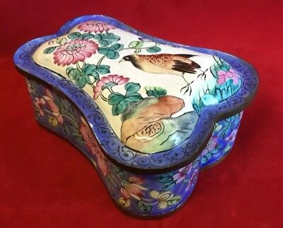 Unusual Antique Chinese Canton Enamel on Copper Box with Bird and Flora c1900