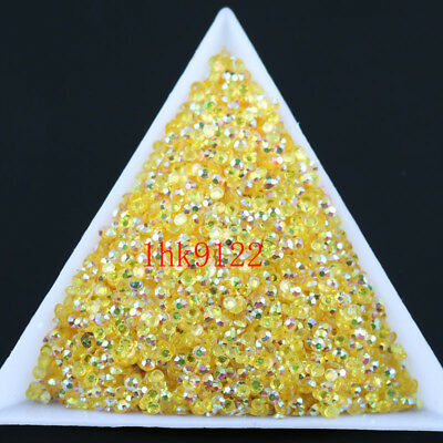 2-4mm TM Gold Yellow Jelly AB Crystl Resin Flatback Nail Art Rhinestones Beads