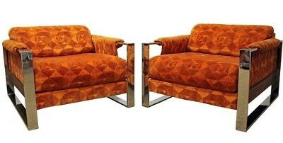 Pair of Mid-Century Modern Adrian Pearsall Craft Associates Chrome Lounge Chairs
