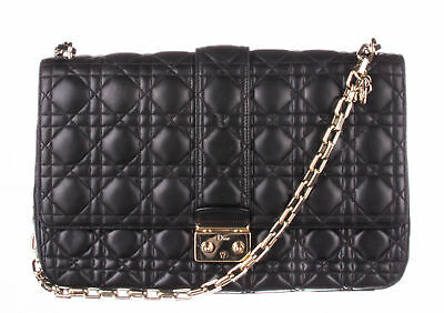 cb9fd4b532fd CHRISTIAN DIOR BLACK Lambskin Cannage Quilted Large Miss Flap Bag ...
