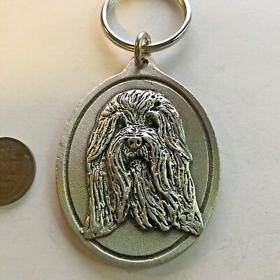 Bearded Collie Dog Keychain Pewter Key Chain NOS