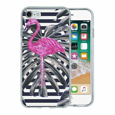 Pour Apple Iphone 7 Étui en Silicone Flamant Rose Tropical Motif - S5632