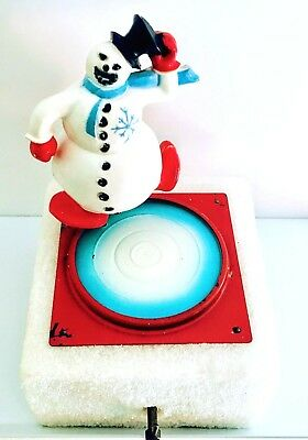 Wind-Up Musical Ice Skating Snowman * NON-WORKING * Antique Collectible with Box