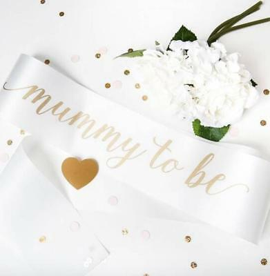 Quality White Neutral Mummy to Be Sash for Baby Shower Babyshower New Mum Gift