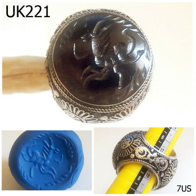 Huge Sultan Deer Intaglio Agate Silver Filigree Ring Size 7 US #UK221a