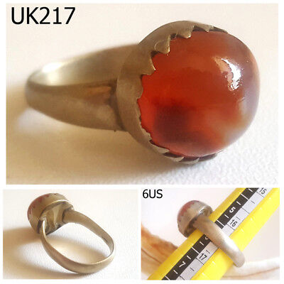 Vintage Greek Roman Style Carnelian Agate Jelly REAL Silver Ring Size 6 #UK217a