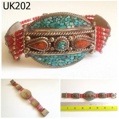 Rare Stunning Nepal Tibet Turquoise & Red Coral Silver Mix Bracelet #UK202a