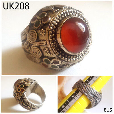 Rare Wonderful Greek Style Carnelian Stone Filigree Silver Ring Size 8 US #UK208