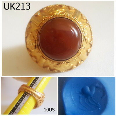 Gorgeous Horse INTAGLIO Carnelian Stone Gold Plated Ring Size 10US #UK213a