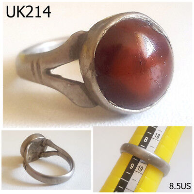 Rare Greek Roman Style Red Agate Stone REAL Silver Ring Size 8.5 #UK214a