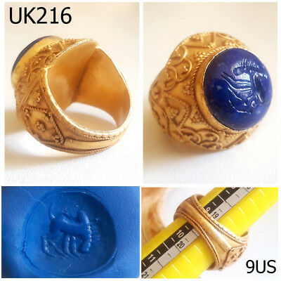 Roman Stunning Horse Intaglio Lapis Stone Gold Plated Ring Size 9 #UK216a