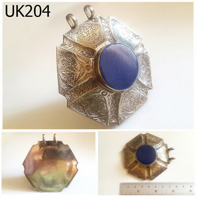 Huge Turkoman Ethnic Islamic Afghan Lapis Silver Pendant #UK204a
