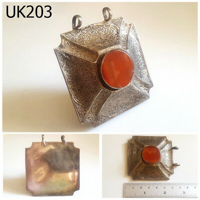 Antique Turkoman Islamic Afghan Carnelian Silver Pendant #UK203a