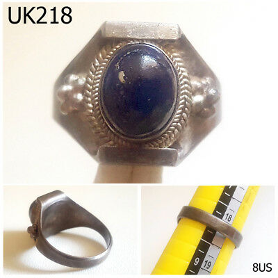 Very Old Lapis lazuli Medieval Stone Real Silver Ring Size 8 US #UK218a