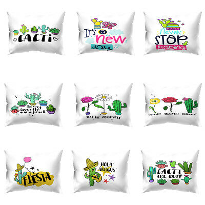 KE_ 30*50cm Rectangle Cactus Flower Pillow Cases Home Office Car Decor Cushion