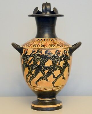 Ancient Hydria Vase with Greek Olympic Runners Museum Replica Reproduction