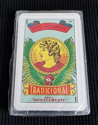"""Mexican Marca """"DON CLEMENTE"""" Tradicional Playing Cards in Clear Case, BRAND NEW!"""