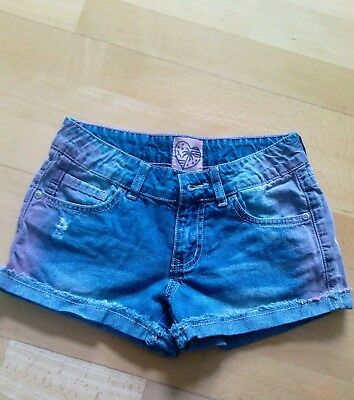 HERE & THERE  Hot Pants Jeans  Gr. 146  blau/ rosa  TOP Zustand  Shorts