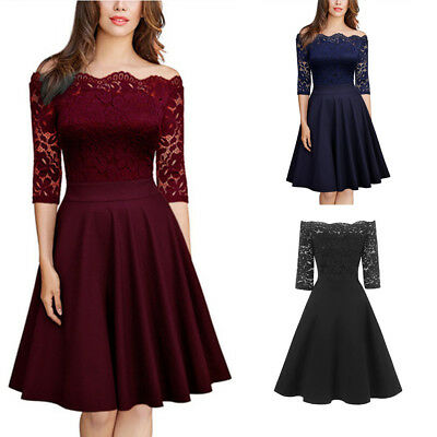 Woman  Party Skirt Off-Shoulder Ball Gown Lace Casual Sexy Cocktail Dresses