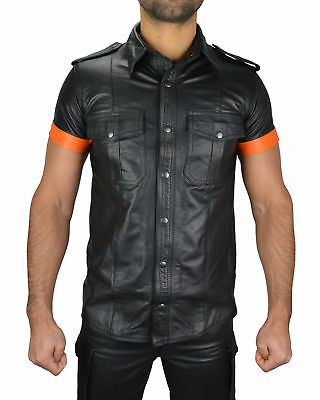 en soldes 451b4 5aea2 CHEMISE HOMME CUIR Bluf Type Militaire Uniforme Police Gay...
