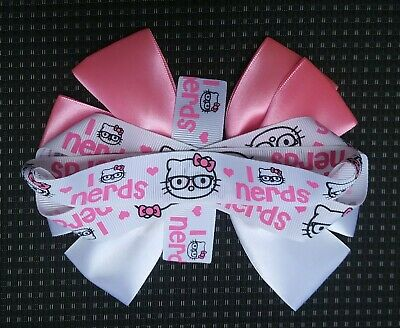 0f95f1558 Hello Kitty Cat Handmade Girl's Ladies Pink White Nerds Large Glasses Hair  Bow