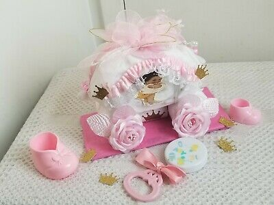 Pink & Gold Little Princess Carriage Mini Diaper Cake Baby Shower Gift - Girl