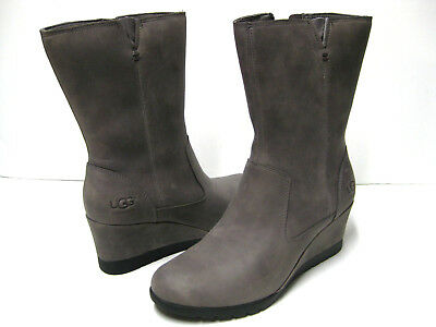 45a285f907f UGG JOELY WOMEN Waterproof Wedge Boots Leather Charcoal Us 10 /uk ...