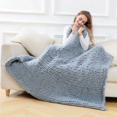 Modern Hand Knitted Chunky Blanket Winter Warm Yarn Soft Super Big Bulky Throws