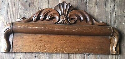 Vtg Architectural Tiger Oak Ornate Wood Carved PEDIMENT HEADER Salvage 27.25""