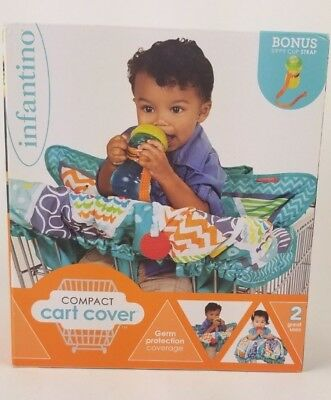 Infantino Compact 2-in-1 Shopping Cart Cover Bonus Sippy Cup Strap Multicolor