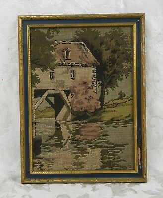 Antique La France Art Company Jacquard Tapestry Mill House by River