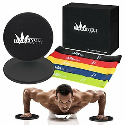 Resistance Loop Bands Core Sliders Set, 80 Day Obsession Equipment, Dual Side...