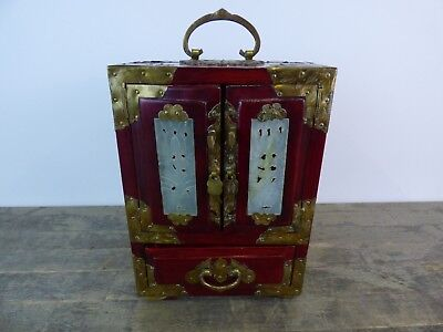 Vintage Oriental Japanese Lacquered Wood, Brass & Onyx Table Cabinet.