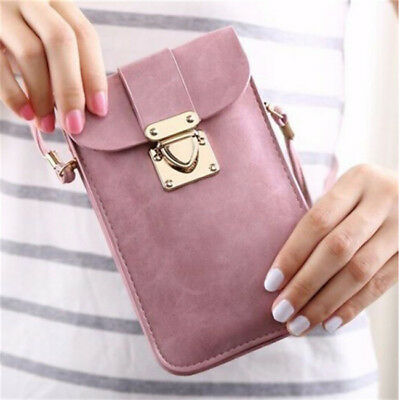 Ladies PU Leather Coin Cell Phone Case Mobile Bag Pouch Mini Shoulder Bag LH