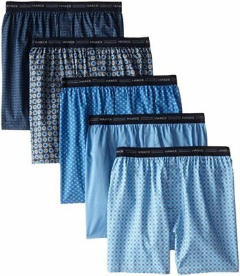 Hanes Men's 5-Pack Printed Woven Exposed Waistband Boxers, Print, Large
