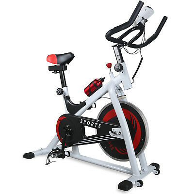Exercise Spinning Bike Bicycle Fitness Workout Cycling LCD Display Cardio White