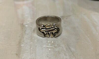 Birks Sterling Silver and 18k Yellow Gold Band Ring Size 6