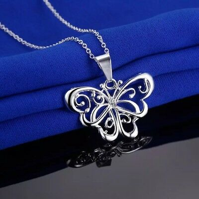 """Womens 925 Sterling Silver Butterfly Pendant Necklace 18"""" Link Chain N115"""