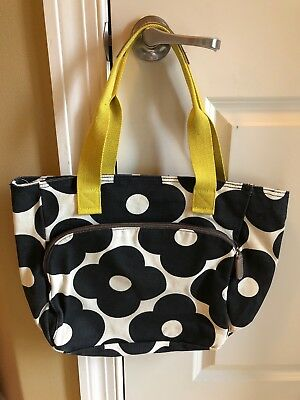 a54727ef0419 Orla Kiely for Target Black Floral Yoga Tote Bag Cream Canvas Zip Pockets  Yellow