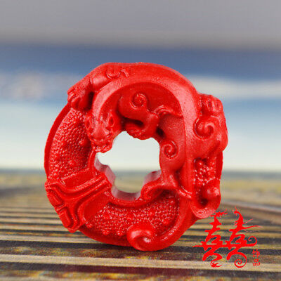 Natural Red Cinnabar Carving Lacquer Chinese Wealth Pi Xiu Yao Pendant Necklace