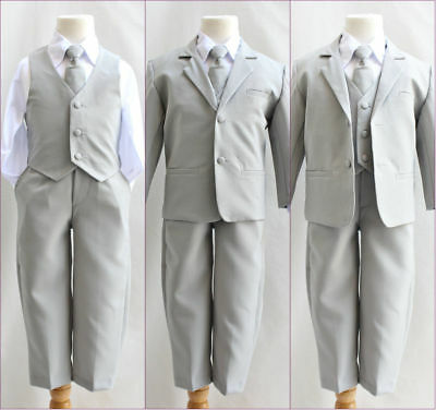 Boys silver light grey formal suit Fancy wedding Holiday set long tie vest pants
