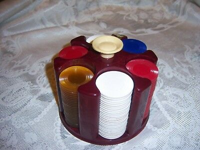Vtg Poker Chip Bakelite? Holder Maroon Swirl White Red Blue Clear-Yellow Chips