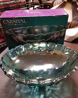 VTG. IRIDESCENT BLUE green INDIANA CARNIVAL GLASS FOOTED OVAL FRUIT BOWL12""